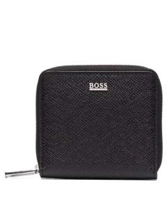 This is the BOSS Signature Black Palmellato Leather 3CC Coin Pouch.