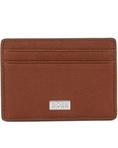 This is the Hugo Boss Light Brown Italian Grained Leather Card Holder with Money Clip.