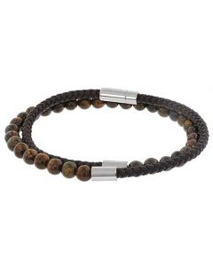 This is the BOSS Dark Brown Stone Brody Wrap Bracelet.