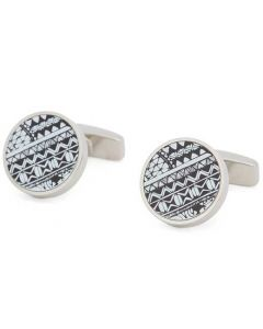 These are the BOSS Round Silver Patterned Core Cufflinks.