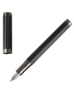 This blue fountain pen has been designed by hugo boss.
