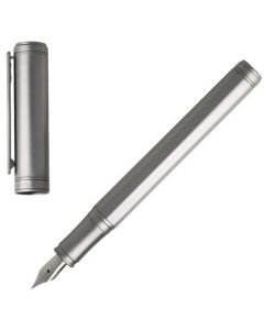 This silver brass fountain pen has been designed by Hugo Boss as part of their step collection.