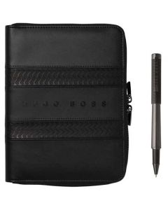 This is the Hugo Boss Black Tire A5 Conference Folder and Rollerball Pen Set.