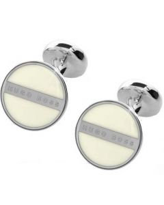 Hugo Boss white enamel cufflinks in the Norberto design.