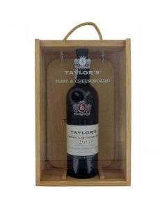 Late Bottled Taylor's Vintage Port and Cheeseboard Gift Set in Wooden Gift Box.