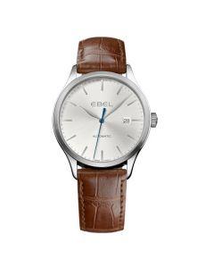 Ebel Men's 100 Watch - Steel, Grey - Brown Strap.