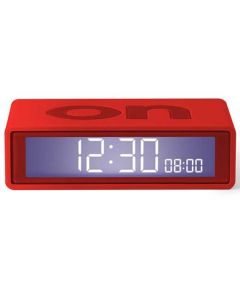 This red colour alarm clock has been created by Lexon.