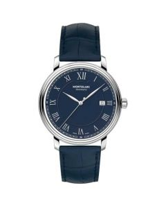 The blue strap of this Montblanc watch is made from alligator-skin.