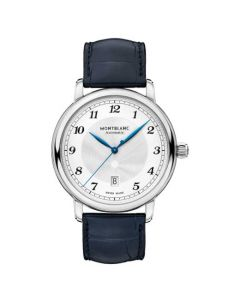 This Montblanc watch is part of the Star Legacy collection and features a blue alligator-skin strap watch.