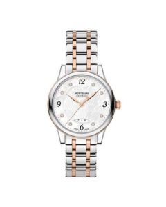 This Montblanc Bohème Stainless steel watch features a rose gold pattern throughout.
