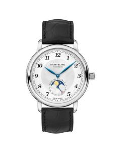 This Montblanc Star Legacy watch features a black alligator-skin strap.
