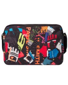 This messenger bag has a cycle glove pattern.