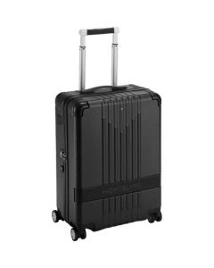 Black Montblanc polycarbonate trolley case with extendable handle.