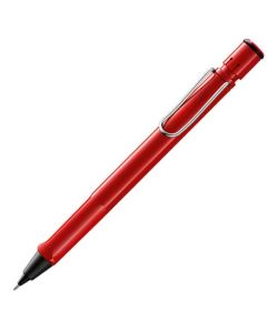 Red LAMY mechanical pencil in the safari range with eraser and metal clip.