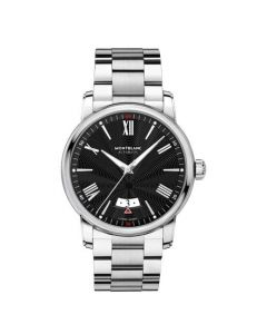 The bracelet of this Montblanc watch is made from stainless steel.