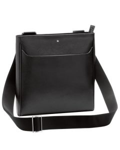 Front view of the Montblanc black leather Sartorial evelope bag showing the strap.