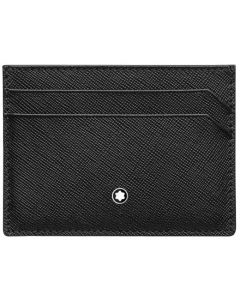 Full front view of the Montblanc black Sartorial 5CC card holder.