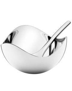 The Georg Jensen Bloom stainless steel salt cellar with spoon.