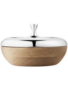 The Georg Jensen HK stainless steel and oak wood turnip bonbonniere.