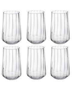 These are the Crystal Set of 6 Bernadotte Tall Tumbler Glasses designed by Georg Jensen.