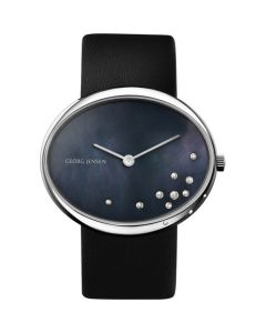 Vivianna Oval Large Georg Jensen Watch, Black Pearl Dial With Diamonds.