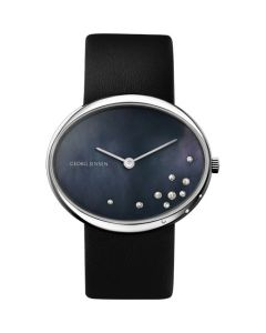 Vivianna Oval Small Georg Jensen Watch, Black Pearl Dial With Diamonds.