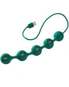 This Lexon green USB peas hub has 4 USB plugs.