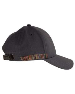 This Paul Smith grey cap comes with a striped design down the start.