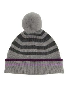 This Paul Smith grey lambs wool hat comes with a striped design.