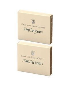 These are the Graf von Faber-Castell Deep Sea Green Ink Cartridges 2 x Pack of 6.
