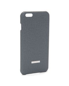 Front view of the grey leather Hugo Boss iPhone 6 Plus case.