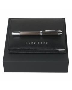 A6 black textured leather and Rollerball gift set by Hugo Boss.
