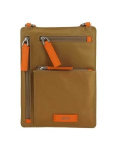 This Hugo boss Envelope brown bag comes with orange highlights.