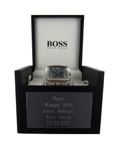 Wheelers Luxury Gifts specialise in engraving onto Plaques for gift boxes.