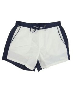 Front view of the white and navy Hugo Boss Snapper swim shorts.