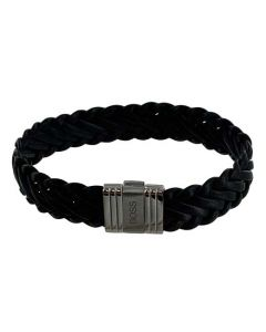 This Hugo Boss bracelet comes with a black woven leather design and silver clasp.