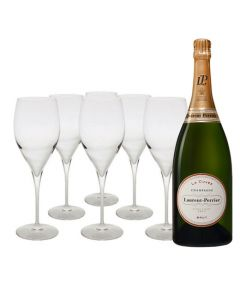 This Laurent Perrier La Cuvèe champagne with 6 branded glasses