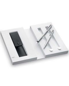 This is the LAMY Brushed Stainless Steel Logo Fountain and Ballpoint Pen Set with Pen Case.