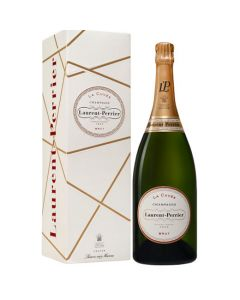 Bottle of Laurent Perrier La Cuvee mangum champagne comes in a special giftbox.