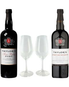 Fine Ruby and Late Bottled Vintage Port with Two Glasses Gift Set