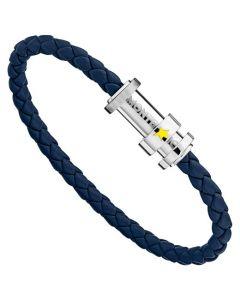 The Montblanc Le Petit Prince woven blue leather bracelet.