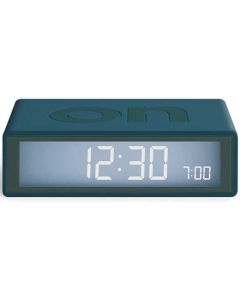 This is the Lexon Travel Flip + Duck Blue Alarm Clock.