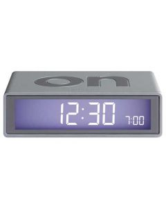 This silver Lexon alarm clock has been designed as part of their flip collection.