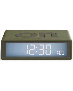 This is the Lexon Travel Flip + Khaki Alarm Clock.