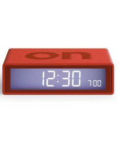 Red Lexon rubber flip alarm clock.