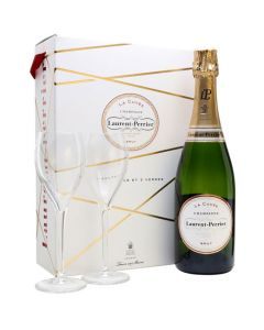 Laurent-Perrier 75cl Brut Champagne and Two Branded Glasses Gift Set.