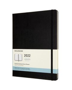 A4 12-Month Hard Cover Black 2022 Monthly Planner