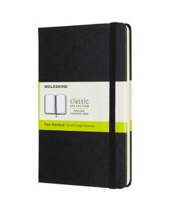 Medium Hard Cover Black Classic Plain Notebook