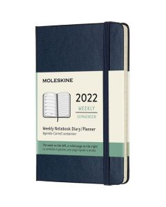This is the Moleskine Pocket 12-Month Hard Cover Sapphire Blue 2022 Weekly Planner.