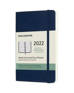 This is the Moleskine Pocket 12-Month Soft Cover Sapphire Blue 2022 Horizontal Weekly Planner.